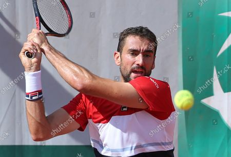 Marin Cilic of Croatia hits a shot during his French Open men's third round match against American Stevie Johnson at Roland Garros in Paris on June 2, 2018. Cilic defeated Johnson 6-3, 6-2, 6-4 to advance to the fourth round.