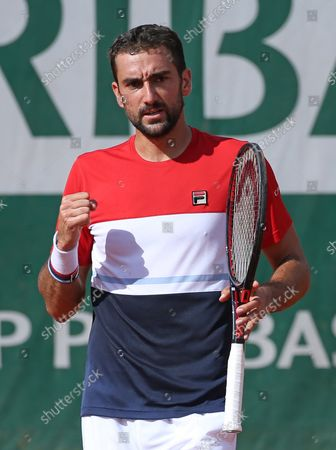 Marin Cilic of Croatia reacts after a shot during his French Open men's third round match against American Stevie Johnson at Roland Garros in Paris on June 2, 2018. Cilic defeated Johnson 6-3, 6-2, 6-4 to advance to the fourth round.