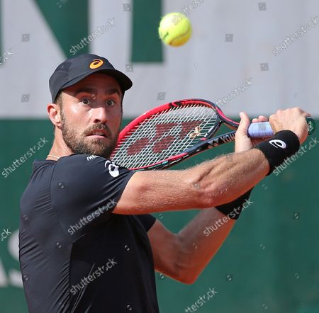 American Stevie Johnson hits a shot during his French Open men's third round match against Marin Cilic of Croatia at Roland Garros in Paris on June 2, 2018. Cilic defeated Johnson 6-3, 6-2, 6-4 to advance to the fourth round.