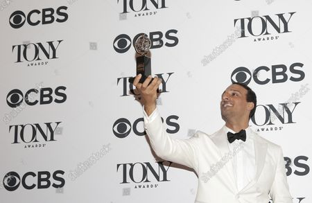 Ari'el Stachel arrives in the Media Room at the 72nd Annual Tony Awards at Radio City Music Hall on June 10, 2018 in New York City.