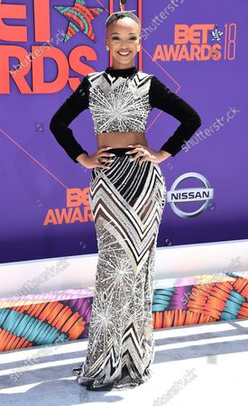 Stock Picture of Singer Nandi Mngoma attends the 18th annual BET Awards at Microsoft Theater in Los Angeles on June 24, 2018. The ceremony celebrates achievements in entertainment and honors music, sports, television, and movies released between April 1, 2017 and March 31, 2018.
