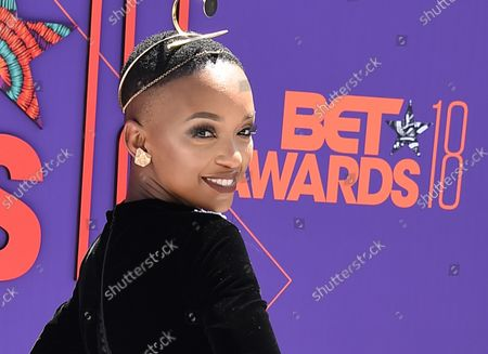 Stock Image of Singer Nandi Mngoma attends the 18th annual BET Awards at Microsoft Theater in Los Angeles on June 24, 2018. The ceremony celebrates achievements in entertainment and honors music, sports, television, and movies released between April 1, 2017 and March 31, 2018.
