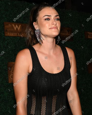 Stock Picture of Myla Dalbesio walks the red carpet at the 2018 Sports Illustrated Swimsuit show at the W hotel in Miami Beach, Florida, July 15, 2018.