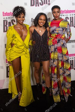 Actress Nafessa Williams, China Anne McClain and Christine Adams of Black Lightening attends Entertainment Weekly's Comic-Con closing night celebration party at FLOAT at the Hard Rock Hotel in San Diego, California on July 21, 2018.