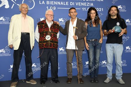 Italian speleogists Giulio Gecchele, Beppe De Matteis, Italian filmmaker Michelangelo Frammartino, Italian screenwriter Giovanna Giuliani, and Italian speleologist Leonardo Zaccaro pose at a photocall for 'Il Buco' during the 78th annual Venice International Film Festival,in Venice, Italy, 04 September 2021. The movie is presented in Official competition 'Venezia 78'at the festival running from 01 to 11 September.