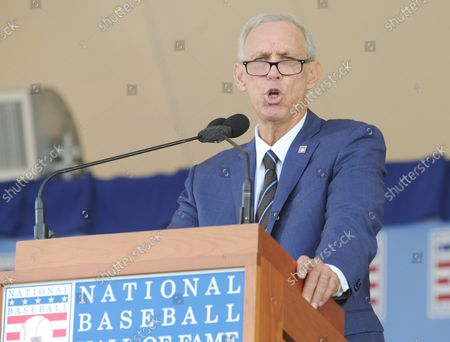 Alan Trammell delivers his Baseball Hall of Fame induction speech at the Clark Sports Center in Cooperstown, NY on July 29, 2018.  A record 60 Hall of Famers are scheduled to be in Central New York to honor Vladimir Guerrero, Trevor Hoffman, Chipper Jones, Jack Morris, Jim Thome and Alan Trammell at the National Baseball Hall of Fame and Museum during Hall of Fame Weekend on July 27-30.