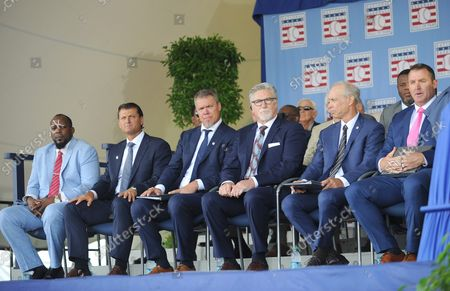 Vladmir Guerrero, Trevor Hoffman, Chipper Jones, Jack Morris, Alan Trammell and Jim Thome on stage before delivering their Baseball Hall of Fame induction speech at the Clark Sports Center in Cooperstown, NY on July 29, 2018.  A record 60 Hall of Famers are scheduled to be in Central New York to honor Vladimir Guerrero, Trevor Hoffman, Chipper Jones, Jack Morris, Jim Thome and Alan Trammell at the National Baseball Hall of Fame and Museum during Hall of Fame Weekend on July 27-30.