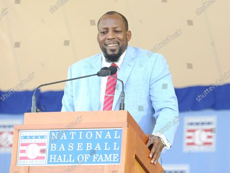 Vladmir Guerrero delivers his  Baseball Hall of Fame induction speech at the Clark Sports Center in Cooperstown, NY on July 29, 2018.  A record 60 Hall of Famers are scheduled to be in Central New York to honor Vladimir Guerrero, Trevor Hoffman, Chipper Jones, Jack Morris, Jim Thome and Alan Trammell at the National Baseball Hall of Fame and Museum during Hall of Fame Weekend on July 27-30.