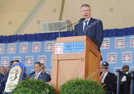 Atlanta Braves Chipper Jones delivers his Baseball Hall of Fame induction speech at the Clark Sports Center in Cooperstown, NY on July 29, 2018.  A record 60 Hall of Famers are scheduled to be in Central New York to honor Vladimir Guerrero, Trevor Hoffman, Chipper Jones, Jack Morris, Jim Thome and Alan Trammell at the National Baseball Hall of Fame and Museum during Hall of Fame Weekend on July 27-30.
