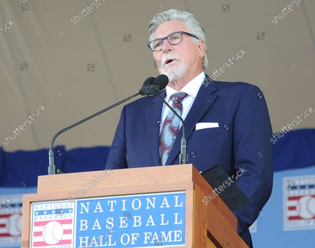 Jack Morris delivers his Baseball Hall of Fame induction speech at the Clark Sports Center in Cooperstown, NY on July 29, 2018.  A record 60 Hall of Famers are scheduled to be in Central New York to honor Vladimir Guerrero, Trevor Hoffman, Chipper Jones, Jack Morris, Jim Thome and Alan Trammell at the National Baseball Hall of Fame and Museum during Hall of Fame Weekend on July 27-30.