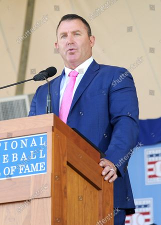 Jim Thome delivers his Baseball Hall of Fame induction speech at the Clark Sports Center in Cooperstown, NY on July 29, 2018.  A record 60 Hall of Famers are scheduled to be in Central New York to honor Vladimir Guerrero, Trevor Hoffman, Chipper Jones, Jack Morris, Jim Thome and Alan Trammell at the National Baseball Hall of Fame and Museum during Hall of Fame Weekend on July 27-30.