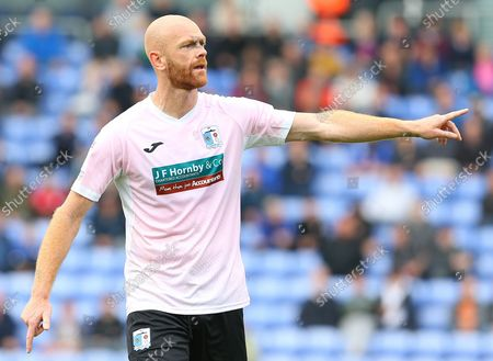 Barrow midfielder Jason Taylor  (4) pointing during the EFL Sky Bet League 2 match between Oldham Athletic and Barrow at Boundary Park, Oldham