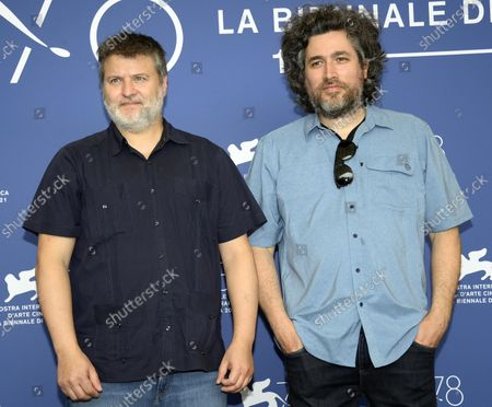 Argentinian filmmakers Mariano Cohn (R)  and Gaston Duprat pose at a photocall for 'Competencia Oficial' (Official Competition) during the 78th annual Venice International Film Festival, in Venice, Italy, 04 September 2021. The movie is presented in the official competition 'Venezia 78' at the festival running from 01 to 11 September.