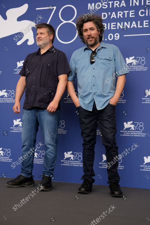 From left, directors Gastón Duprat and Mariano Cohn pose for photographers at the photo call for the film 'Competencia Oficial' (Official Competition) during the 78th edition of the Venice Film Festival in Venice, Italy