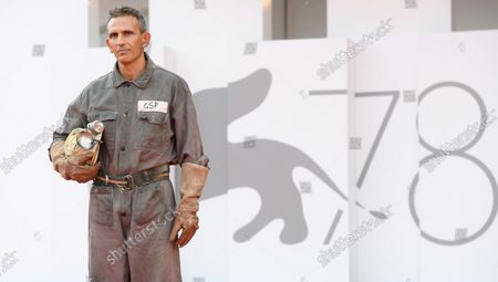 Michelangelo Frammartino arrives for the premiere of 'Il Buco' (The Hole) during the 78th annual Venice International Film Festival, in Venice, Italy, 04 September 2021. The film is presented in the official competition 'Venezia 78' at the festival running from 01 to 11 September 2021.