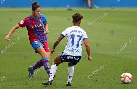 Stock Image of Marta Torrejon and Mari Jose Perez during the match between FC Barcelona and UDG Tenerife, corresponding to the week 1 of the Liga Iberdrola,  played at the Johan Cruyff Stadium, on 04th September 2021, in Barcelona, Spain.  --