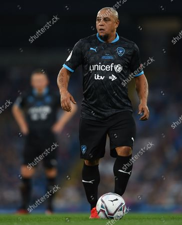 Roberto Carlos of World XI during the Soccer Aid for UNICEF 2021 match taking place on Saturday 4th September at the Etihad Stadium, Manchester.