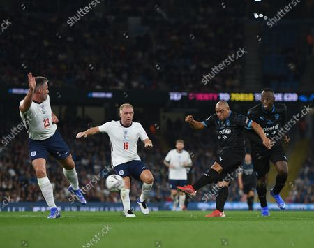 Roberto Carlos of World XI shots at goal during the Soccer Aid for UNICEF 2021 match