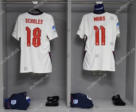Stock Picture of Paul Scholes and Olly Murs kit in the way dressing room before the Soccer Aid for UNICEF 2021 match