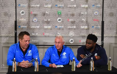 Stock Image of David Seaman Goalkeeper Coach of England, Sven-Goran Eriksson Manager of England and Micah Richards Coach of England during the announcement of the England team at Mottram Hall before the Soccer Aid for UNICEF 2021 match