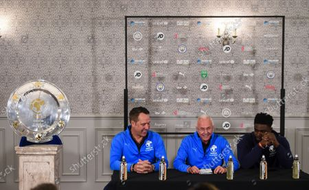 David Seaman Goalkeeper Coach of England, Sven-Goran Eriksson Manager of England and Micah Richards Coach of England during the announcement of the England team at Mottram Hall before the Soccer Aid for UNICEF 2021 match