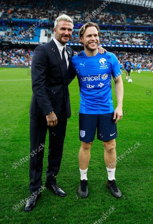 David Beckham and Olly Murs of England before the Soccer Aid for UNICEF 2021 match taking place on Saturday 4th September at the Etihad Stadium, Manchester.