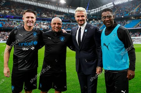 Robbie Keane Coach of World XI, Roberto Carlos of World XI, David Beckham and Clarence Seedorf of World XI before the Soccer Aid for UNICEF 2021 match taking place on Saturday 4th September at the Etihad Stadium, Manchester.