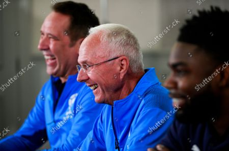 Stock Picture of David Seaman Goalkeeper Coach of England, Sven-Goran Eriksson Manager of England and Micah Richards Coach of England during the announcement of the England team at Mottram Hall before the Soccer Aid for UNICEF 2021 match