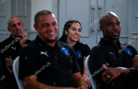 Pablo Zabaleta of World XI, Roberto Carlos of World XI, Chelcee Grimes of World XI and Ore Oduba of World XI ahead of the World XI team announcement at Mottram Hall before the Soccer Aid for UNICEF 2021 match