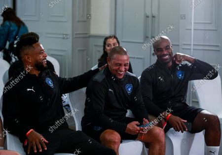 Patrice Evra of World XI, Roberto Carlos of World XI and Ore Oduba of World XI ahead of the World XI team announcement at Mottram Hall before the Soccer Aid for UNICEF 2021 match