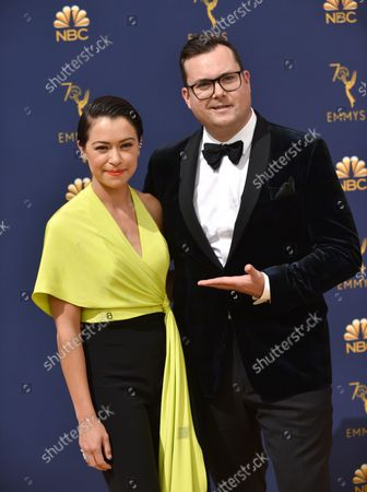 Actors Kristian Bruun and Tatiana Maslany attend the 70th annual Primetime Emmy Awards at the Microsoft Theater in downtown Los Angeles on September 17, 2018.