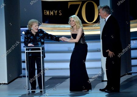 Betty White, Kate McKinnon, and Alec Baldwin onstage during the 70th annual Primetime Emmy Awards at the Microsoft Theater in downtown Los Angeles on September 17, 2018.