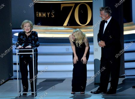 (L-R) Betty White, Kate McKinnon, and Alec Baldwin onstage during the 70th annual Primetime Emmy Awards at the Microsoft Theater in downtown Los Angeles on September 17, 2018.