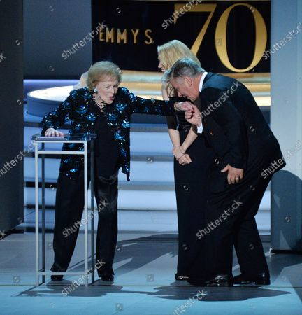 Betty White, Kate McKinnon, and Alec Baldwin appear onstage during the 70th annual Primetime Emmy Awards at the Microsoft Theater in downtown Los Angeles on September 17, 2018.