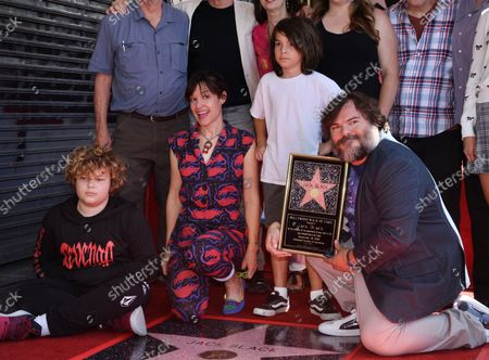 Actor Jack Black is joined by his wife Tanya Haden (2nd-L-L) and their sons Samuel Jason Black (L) and Thomas David Black during an unveiling ceremony honoring him with the 2,645th star on the Hollywood Walk of Fame in Los Angeles on September 18, 2018.