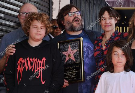 Actor Jack Black is joined by his wife Tanya Haden (3rd-L) and their sons Samuel Jason Black (L) and Thomas David Black during an unveiling ceremony honoring him with the 2,645th star on the Hollywood Walk of Fame in Los Angeles on September 18, 2018.