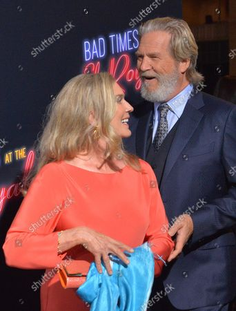 """Cast member Jeff Bridges and his wife Susan Geston attend the premiere of the motion picture mystery thriller """"Bad Times at the El Royale"""" at the TCL Chinese Theatre in the Hollywood section of Los Angeles on September 22, 2018. The film tells the story of seven strangers, each with a secret to bury, meet at Lake Tahoe's El Royale, a rundown hotel with a dark past. Over the course of one fateful night, everyone will have a last shot at redemption - before everything goes to hell."""