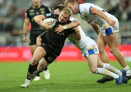 Hull FC's Jordan Johnstone in action with Leeds Rhinos' Richie Myler
