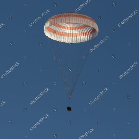 Stock Picture of The Soyuz MS-08 spacecraft is seen as it lands with Expedition 56 Commander Drew Feustel and Flight Engineer Ricky Arnold of NASA, along with Flight Engineer and Soyuz Commander Oleg Artemyev of Roscosmos near the town of Zhezkazgan, Kazakhstan on October 4, 2018. Feustel, Arnold, and Artemyev are returning after 197 days in space where they served as members of the Expedition 55 and 56 crews onboard the International Space Station. NASA