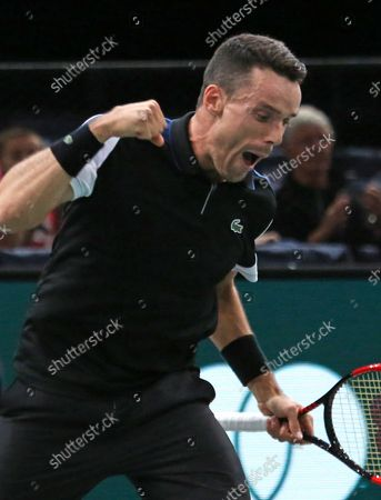 Roberto Bautista Agut of Spain reacts after winning his first round match against American Stevie Johnson at the Rolex Paris Masters in Paris on October 29, 2018. Bautista Agut defeated Johnson 6-4, 7-6 (2) to advance to the 2nd round.