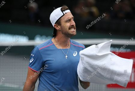 American Stevie Johnson reacts after a shot during his first round match against Roberto Bautista Agut of Spain at the Rolex Paris Masters in Paris on October 29, 2018. Bautista Agut defeated Johnson 6-4, 7-6 (2) to advance to the 2nd round.