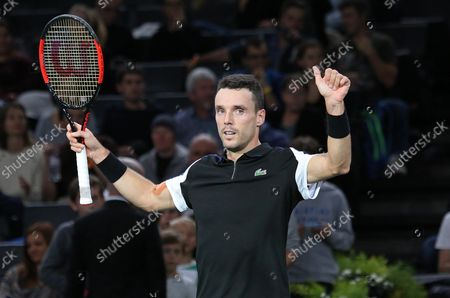 Roberto Bautista Agut of Spain celebrates after winning his first round match against American Stevie Johnson at the Rolex Paris Masters in Paris on October 29, 2018. Bautista Agut defeated Johnson 6-4, 7-6 (2) to advance to the 2nd round.