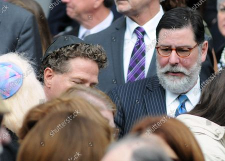 Mayor of Pittsburgh Bill Peduto exits the Rodef Shalom Temples following the funeral services for brothers Cecil and David Rosenthal in Pittsburgh on October 30, 2018. The brothers where victims of the mass shooting where a gunman kill 11 people at the Tree of Life Synagogue.