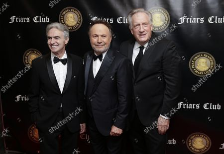 David Steinberg, Billy Crystal and Alan Zweibel arrive on the red carpet when the Friar's Club Honors Billy Crystal with their Entertainment Icon Award at The Ziegfeld Ballroom on November 12, 2018 in New York City.