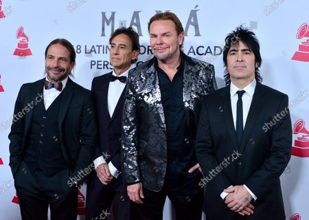 (L-R) Honorees Sergio Vallin, Juan Calleros, Fher Olvera and Alex Gonzalez of Mexican rock band Mana arrive at the Latin Grammy Person of the Year gala honoring Mexican rock band Mana at the Mandalay Bay Convention Center in Las Vegas, Nevada on November 14, 2018.