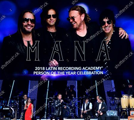 (L-R) Jaime Camil,  Soledad Pastorutti and honorees Fher Olvera, Alex Gonzalez, Juan Calleros and Sergio Vallin of Mexican rock band Mana speak onstage at the Latin Grammy Person of the Year gala honoring Mexican rock band Mana at the Mandalay Bay Convention Center in Las Vegas, Nevada on  November 14, 2018.