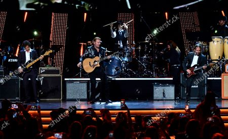 """Honorees Juan Calleros, Fher Olvera, Alex Gonzalez and Sergio Vallin of Mexican rock band Mana perform """"Labios Compartidos"""" and """"Clavado en un Bar"""" onstage at the Latin Grammy Person of the Year gala honoring Mexican rock band Mana at the Mandalay Bay Convention Center in Las Vegas, Nevada on  November 14, 2018."""
