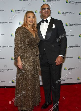 """Christopher Jackson, who was nominated for a Tony Award for originating the role of George Washington in """"Hamilton,"""" arrives with his wife, Veronica Jackson for the formal Artist's Dinner honoring the recipients of the 41st Annual Kennedy Center Honors hosted by United States Deputy Secretary of State John J. Sullivan at the US Department of State in Washington, D.C. on Saturday, December 1, 2018. The 2018 honorees are: singer and actress Cher; composer and pianist Philip Glass; Country music entertainer Reba McEntire; and jazz saxophonist and composer Wayne Shorter. This year, the co-creators of Hamilton, writer and actor Lin-Manuel Miranda, director Thomas Kail, choreographer Andy Blankenbuehler, and music director Alex Lacamoire will receive a unique Kennedy Center Honors as trailblazing creators of a transformative work that defies category."""