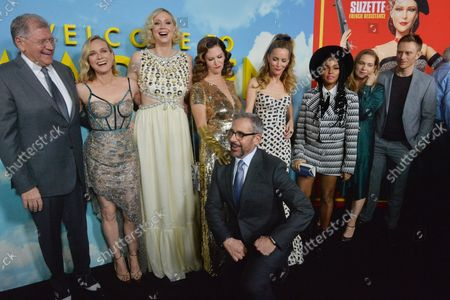 """Stock Picture of Director and writer Robert Zemeckis and cast members Diane Kruger, Gwendoline Christie, Leslie Zemeckis, Steve Carell, Leslie Mann, Janelle Mone, Merritt Wever, and Neil Jackson (L-R) gather for a photo-op during the premiere of the motion picture fantasy """"Marwen"""" at the ArcLight Cinema Dome in the Hollywood section of Los Angeles on December 10, 2018. Storyline: A victim of a brutal attack finds a unique and beautiful therapeutic outlet to help him through his recovery process."""