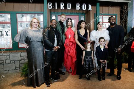 Danielle Macdonald, Lil Rel Howery, Sandra Bullock, Susanne Bier, Rosa Salazar, Vivien Lyra Blair, Julian Edwards and Trevante Rhodes arrive on the red carpet at the New York screening of 'Bird Box' at Alice Tully Hall, Lincoln Center on December 17, 2018 in New York City.